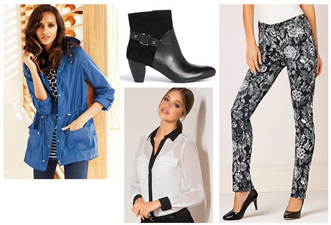 Blue mac, leather boot, floral printed jeans and white blouse