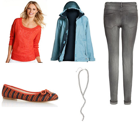 : Orange sweater, blue raincoat, grey skinny jeans, silver chain necklace and orange-blue weave ballet flats