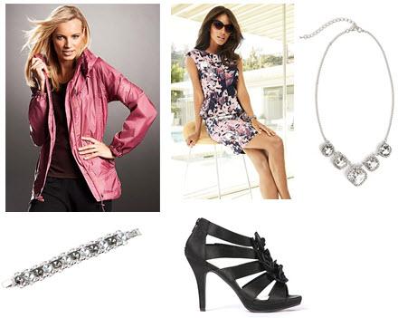 Pink parka, floral dress, crystal necklace, heels and crystal bracelet